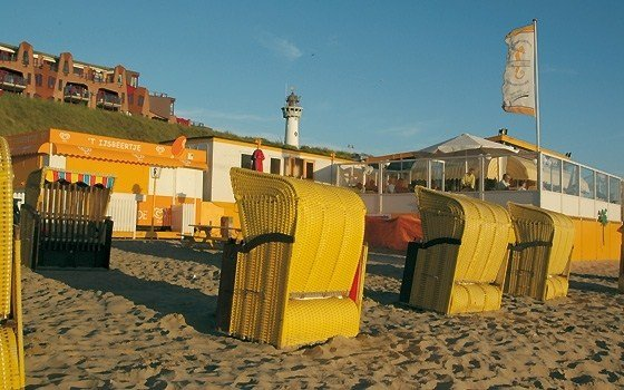 Beach chairs in the sun