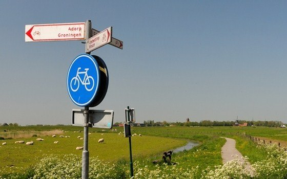 A road sign for cyclists