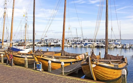 Old boats in the port of Volendam