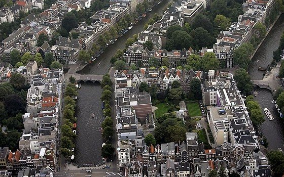 An areal photograph of some canals