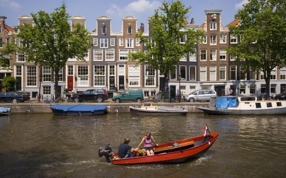 A small part of the 17th century canals of amsterdam stretching over hundred kilometers
