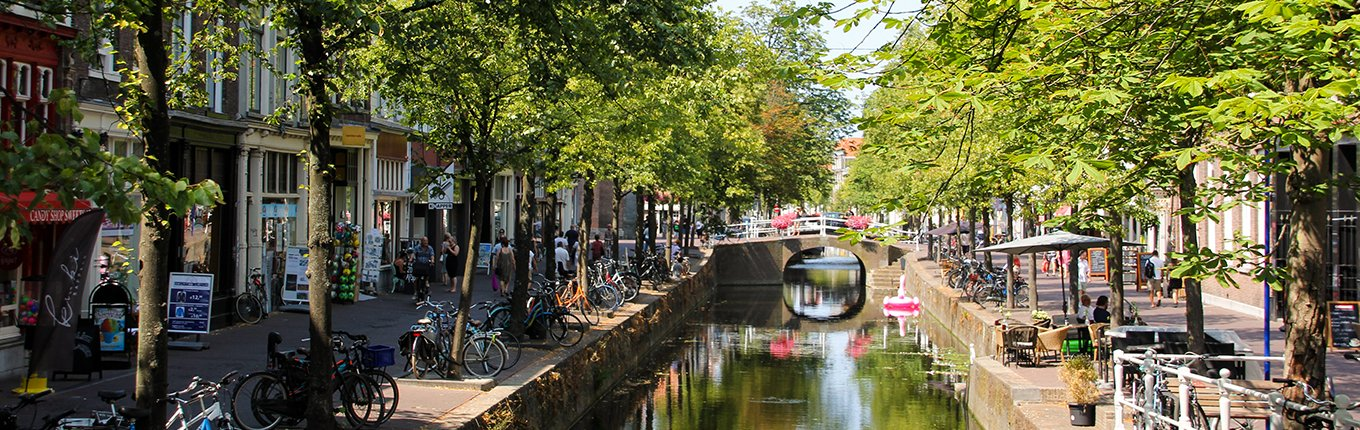 Delft Canal with bikes and trees