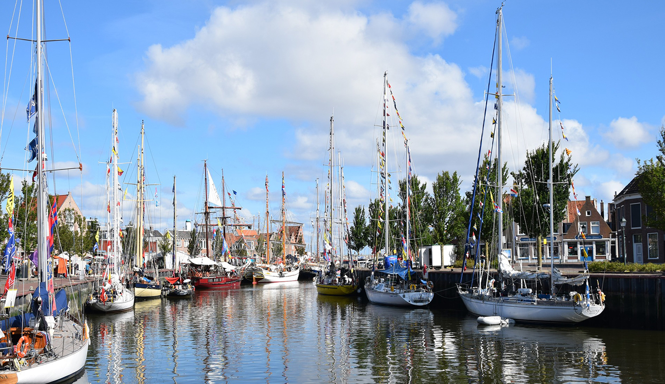Habour Harlingen with boats
