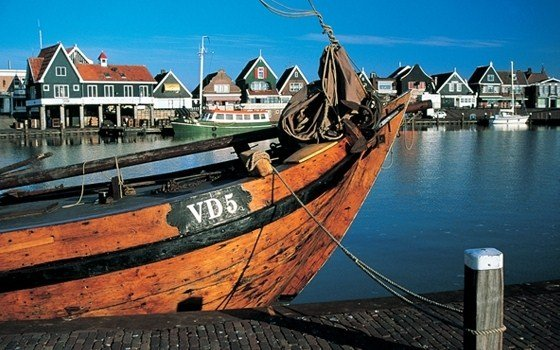 Boat in harbour of Volendam