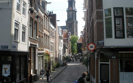 A street in the Jordaan with the Westertower on the background