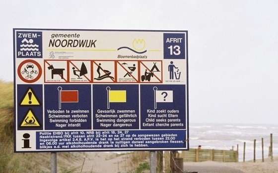 A sign at noordwijk beach
