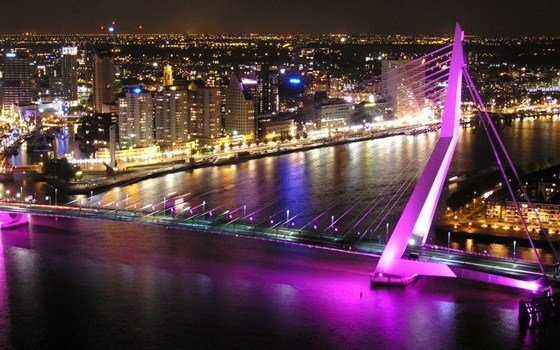 The Erasmusbridge in purple light