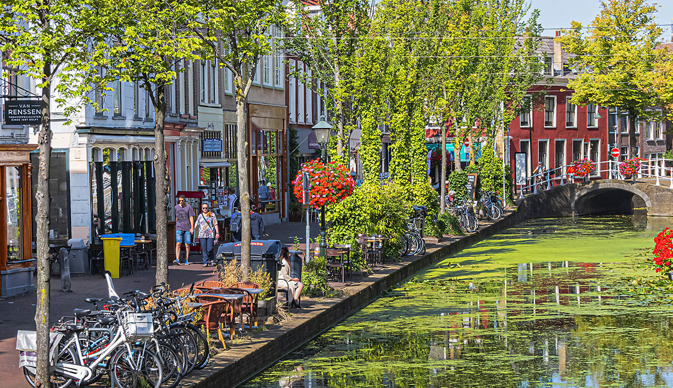 Delft city centre with canal and bikes