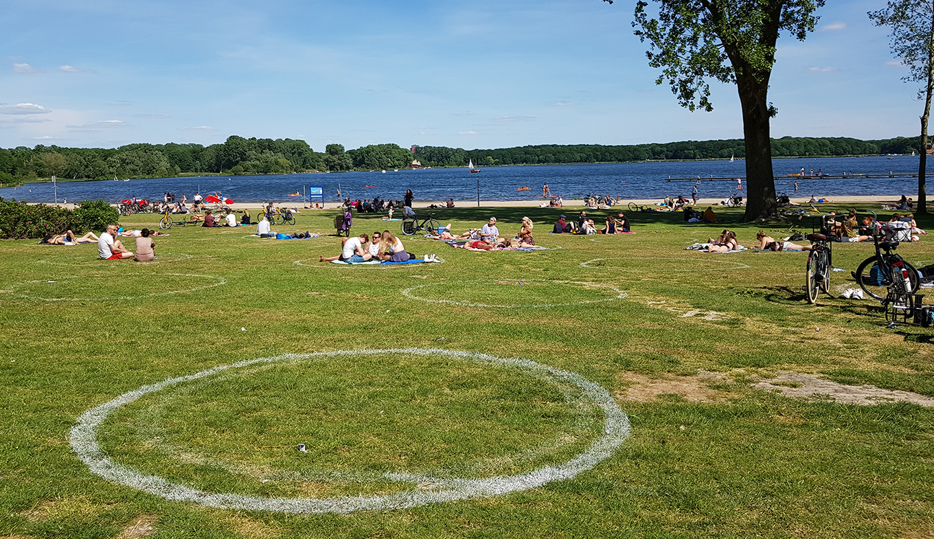 Kralingse park in Rotterdam with social distancing circles