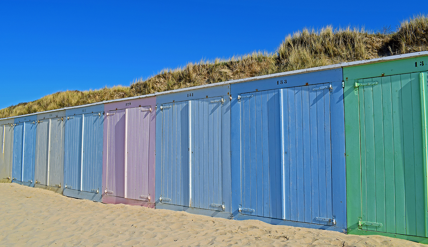 Colorful cabins on the beach of Domburg