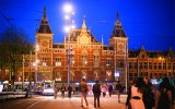 Daan Roosegaarde opens artwork 'Rainbow Station' at Amsterdam Centraal Station