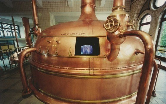 A kettle with build in tv in the Heineken experience Amsterdam