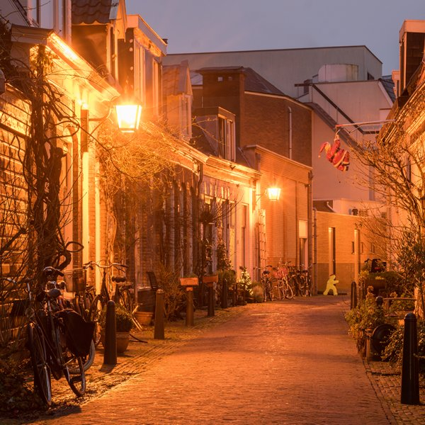 Night view of street in Haarlem