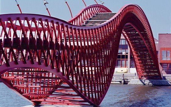 A modern red bridge to the Java island