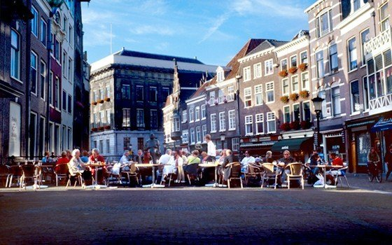Terrace at the vismarkt in Utrecht