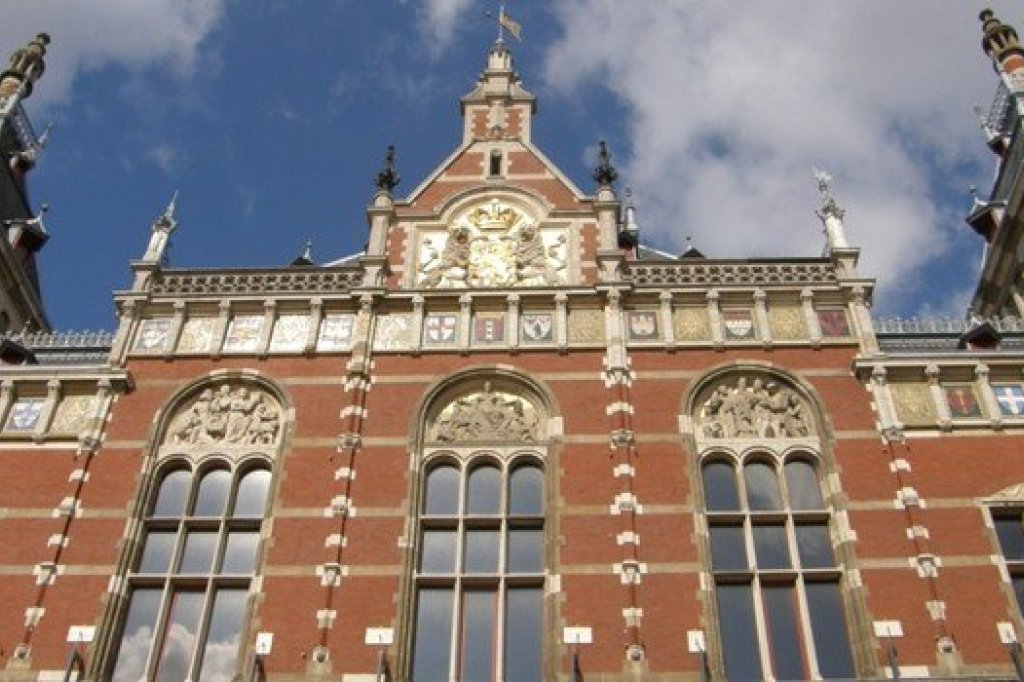 The front side of the central station of Amsterdam
