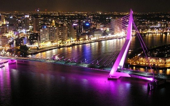 Erasmusbridge by nigth in purple