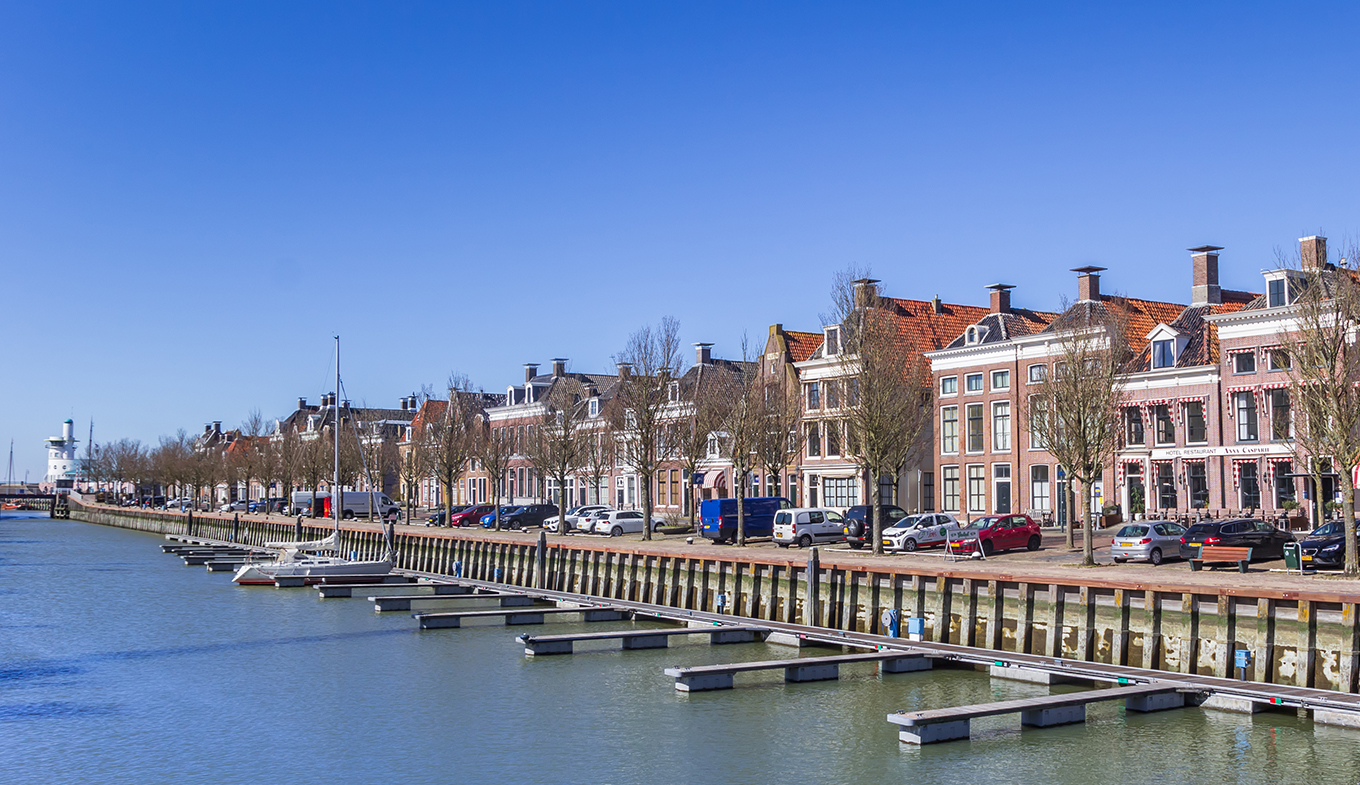 Historic houses at the Noorderhaven harbor in Harlingen