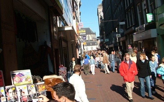 The busiest shopping street of Amsterdam