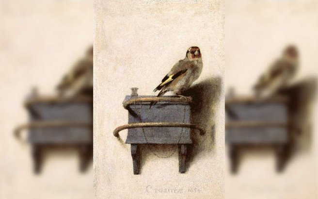 The Goldfinch, Het puttertje is a 1654 painting by Carel Fabritius of a chained goldfinch. It is an oil painting on panel of 33.5 by 22.8 cm (13.2 by 9.0 in)
