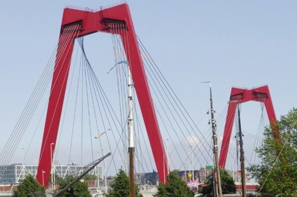 A close view of the Willemsbridge in Rotterdam