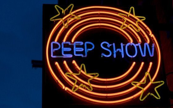 A peepshow sign in the red light district of Amsterdam