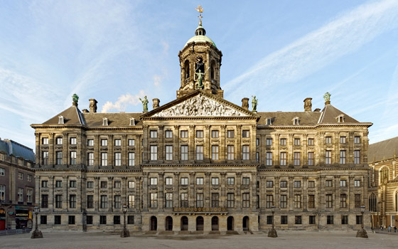 The main square of Amsterdam and the former city hall of Amsterdam now the royal palace